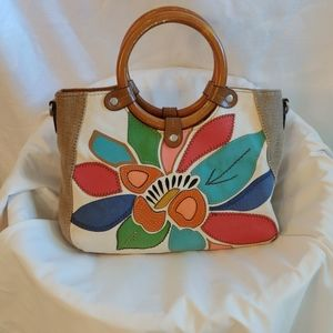 Kim Rogers Canvas Bag with Wooden Handles
